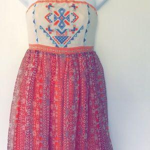 Aztec Girly Strapless Dress
